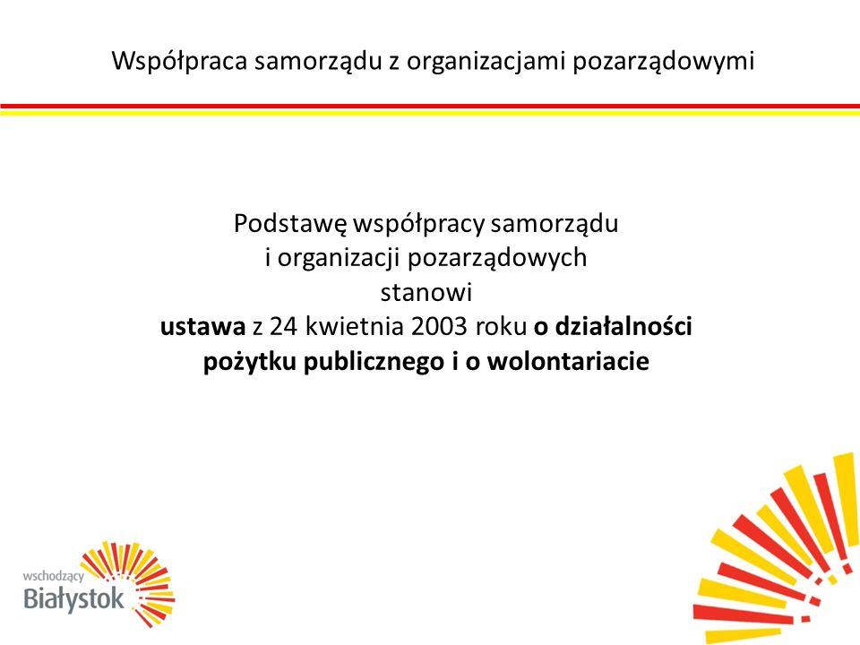 Współpraca samorządu z organizacjami pozarządowymi Podstawę współpracy samorządu i organizacji pozarządowych stanowi ustawa z 24 kwietnia 2003 roku o