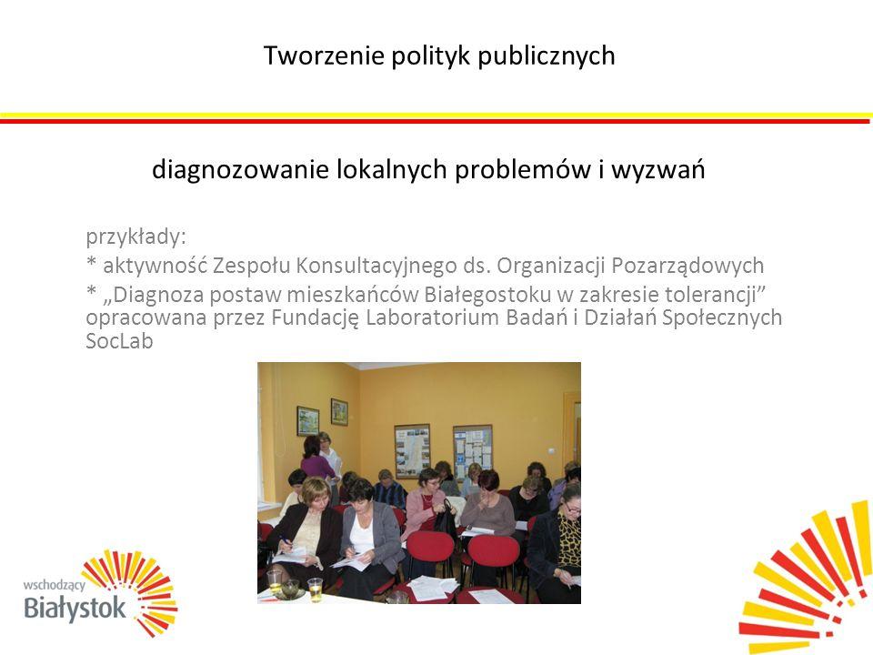 """diagnozowanie lokalnych problemów i wyzwań przykłady: * aktywność Zespołu Konsultacyjnego ds. Organizacji Pozarządowych * """"Diagnoza postaw mieszkańców"""