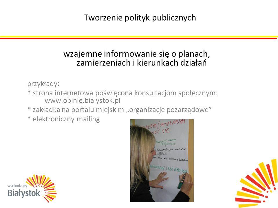 wzajemne informowanie się o planach, zamierzeniach i kierunkach działań przykłady: * strona internetowa poświęcona konsultacjom społecznym: www.opinie