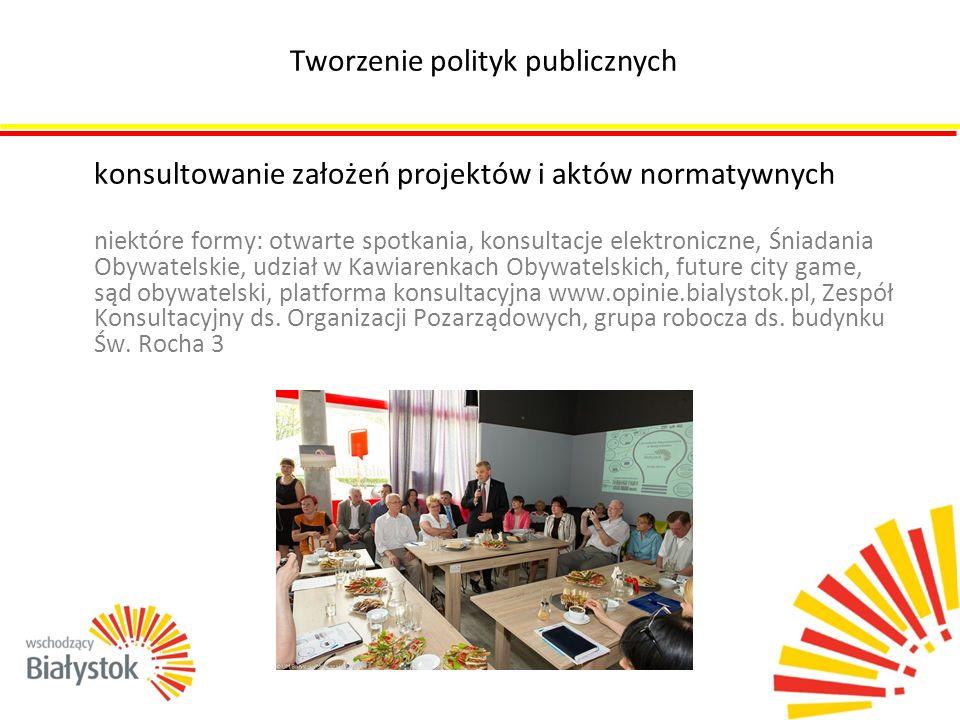 konsultowanie założeń projektów i aktów normatywnych niektóre formy: otwarte spotkania, konsultacje elektroniczne, Śniadania Obywatelskie, udział w Ka