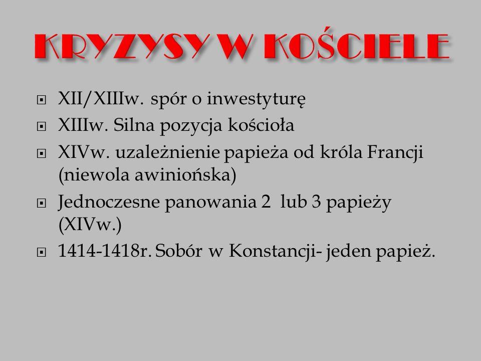  XII/XIIIw. spór o inwestyturę  XIIIw. Silna pozycja kościoła  XIVw.