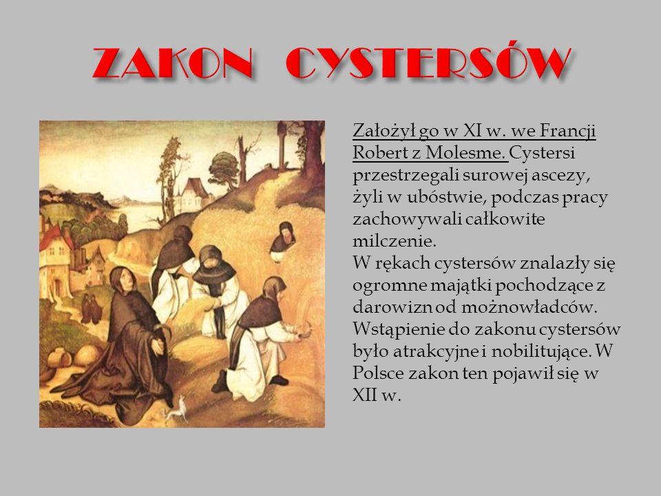 Założył go w XI w. we Francji Robert z Molesme. Cystersi przestrzegali surowej ascezy, żyli w ubóstwie, podczas pracy zachowywali całkowite milczenie.