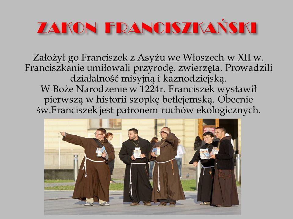 Założył go Franciszek z Asyżu we Włoszech w XII w. Franciszkanie umiłowali przyrodę, zwierzęta. Prowadzili działalność misyjną i kaznodziejską. W Boże