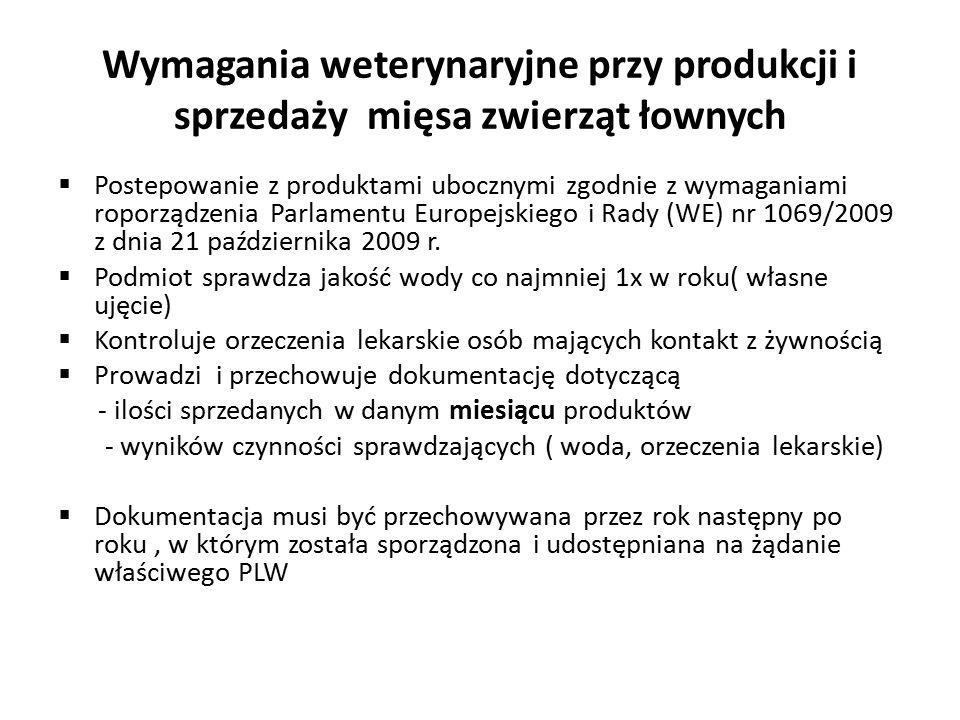 Wymagania weterynaryjne przy produkcji i sprzedaży mięsa zwierząt łownych  Postepowanie z produktami ubocznymi zgodnie z wymaganiami roporządzenia Parlamentu Europejskiego i Rady (WE) nr 1069/2009 z dnia 21 października 2009 r.