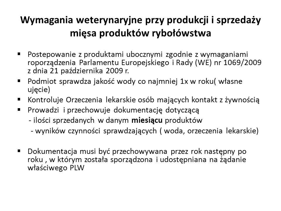 Wymagania weterynaryjne przy produkcji i sprzedaży mięsa produktów rybołówstwa  Postepowanie z produktami ubocznymi zgodnie z wymaganiami roporządzenia Parlamentu Europejskiego i Rady (WE) nr 1069/2009 z dnia 21 października 2009 r.
