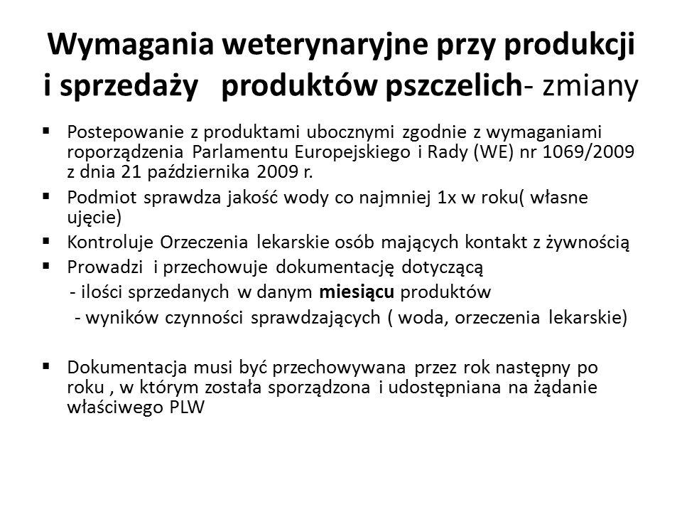 Wymagania weterynaryjne przy produkcji i sprzedaży produktów pszczelich- zmiany  Postepowanie z produktami ubocznymi zgodnie z wymaganiami roporządzenia Parlamentu Europejskiego i Rady (WE) nr 1069/2009 z dnia 21 października 2009 r.