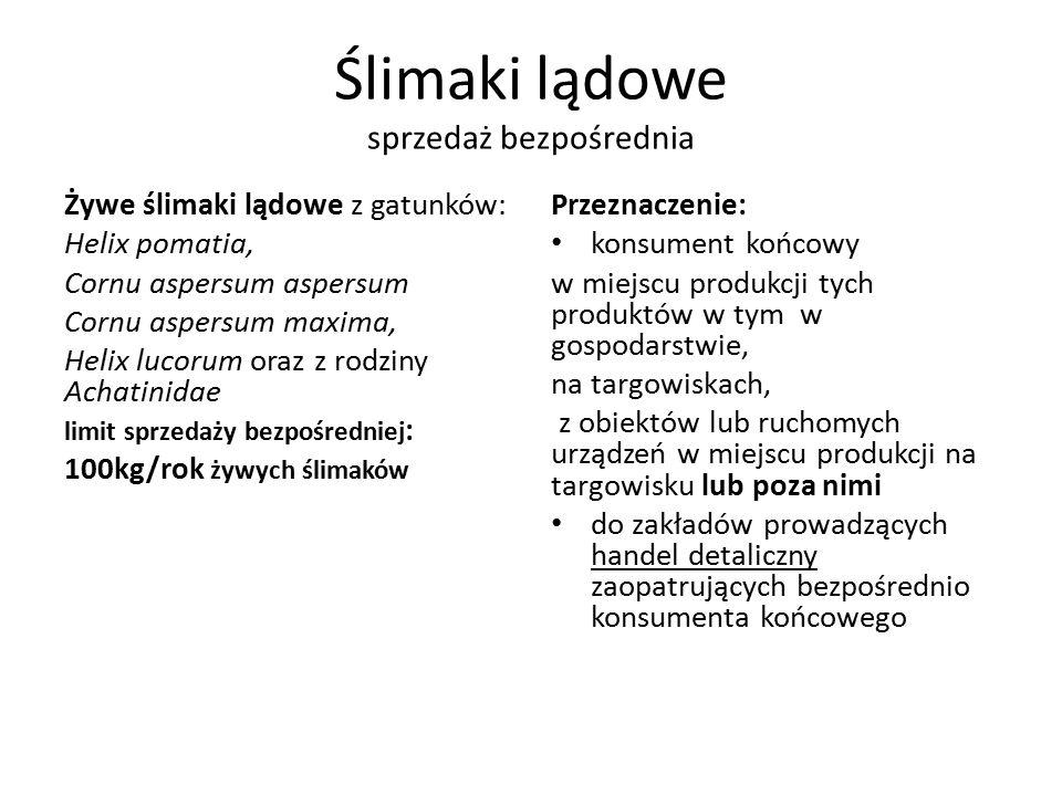 Ilość podmiotów zarejestrowanych w województwie małopolskim sprzedaż bezpośrednia  Drób ………………………………1 podmiot  Zajęczaki …………………………3 podmioty  Produkty rybołówstwa…….16 podmiotów  Mleko i śmietana…………….