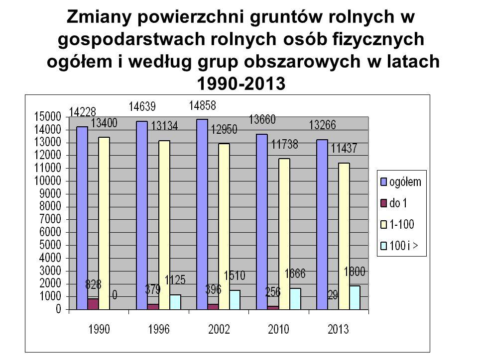Zmiany powierzchni gruntów rolnych w gospodarstwach rolnych osób fizycznych ogółem i według grup obszarowych w latach 1990-2013