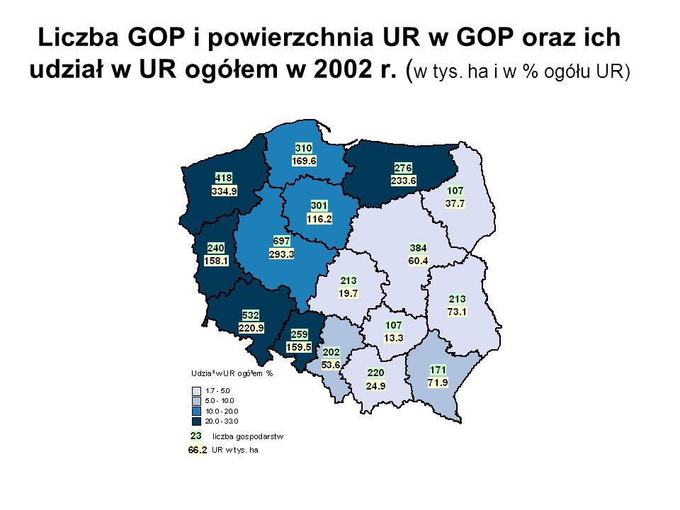 Liczba GOP i powierzchnia UR w GOP oraz ich udział w UR ogółem w 2002 r.