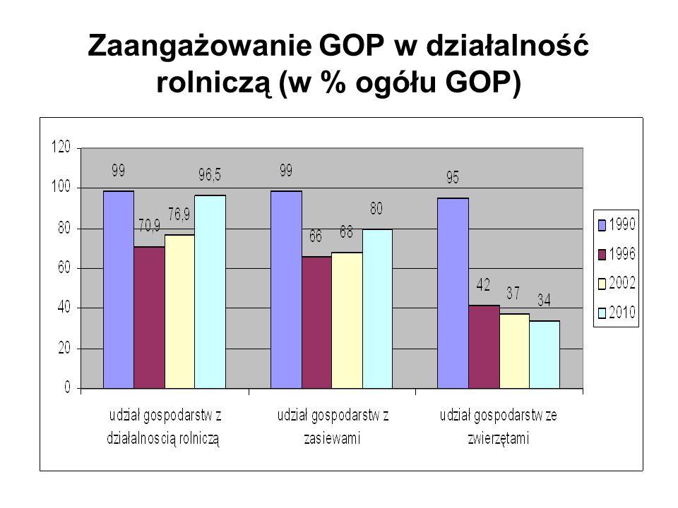 Zaangażowanie GOP w działalność rolniczą (w % ogółu GOP)