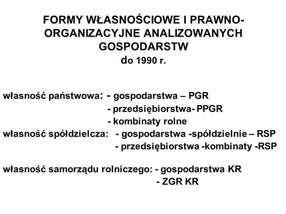 Zmiany w strukturze gruntów rolnych według grup obszarowych w GOP 199620022010 0-5 0,1 5-10 0,1 10-20 0,2 20-30 0,2 30-50 0,40,5 50-100 1,31,51,8 100-2003,33,23,6 200-500 15,0 14,617,4 500-100022,619,622,8 >100056,86053,3