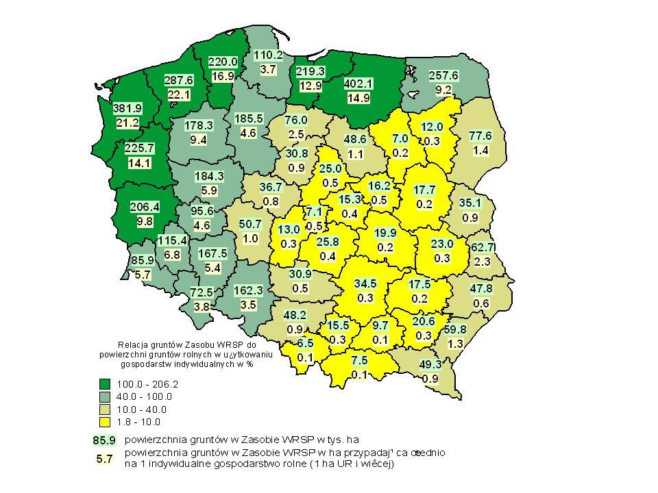 Powierzchnia gruntów rolnych w GOP w 1996 r. (w tys. ha i w % ogółu UR)