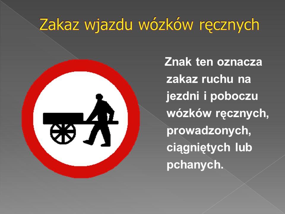 Znak ten oznacza zakaz ruchu na jezdni i poboczu wózków ręcznych, prowadzonych, ciągniętych lub pchanych.