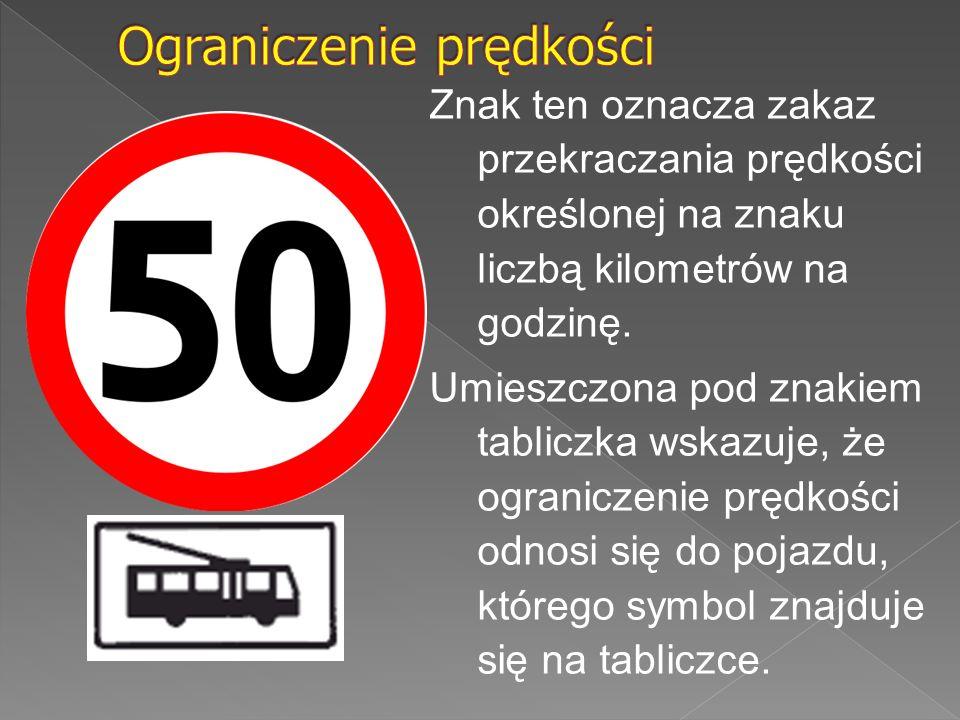 Znak ten oznacza zakaz przekraczania prędkości określonej na znaku liczbą kilometrów na godzinę. Umieszczona pod znakiem tabliczka wskazuje, że ograni