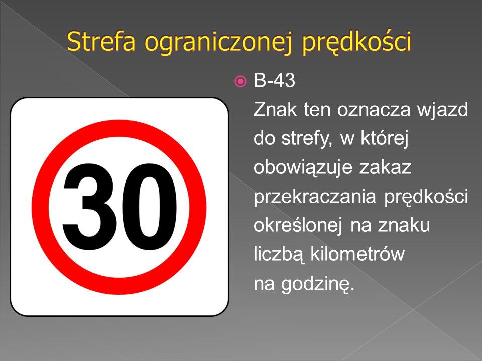  B-43 Znak ten oznacza wjazd do strefy, w której obowiązuje zakaz przekraczania prędkości określonej na znaku liczbą kilometrów na godzinę.