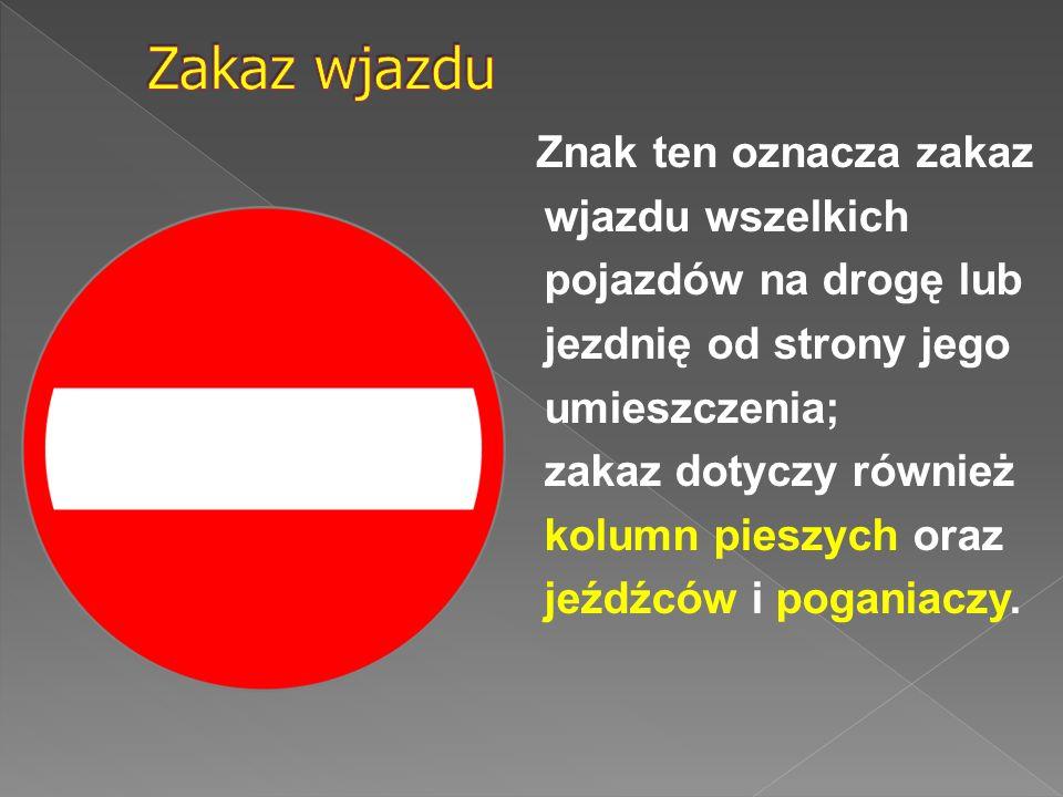 Znak ten oznacza zakaz wjazdu wszelkich pojazdów na drogę lub jezdnię od strony jego umieszczenia; zakaz dotyczy również kolumn pieszych oraz jeźdźców