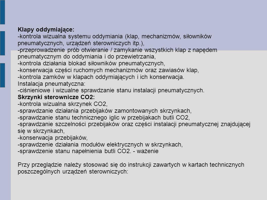Klapy oddymiające: -kontrola wizualna systemu oddymiania (klap, mechanizmów, siłowników pneumatycznych, urządzeń sterowniczych itp.), -przeprowadzenie