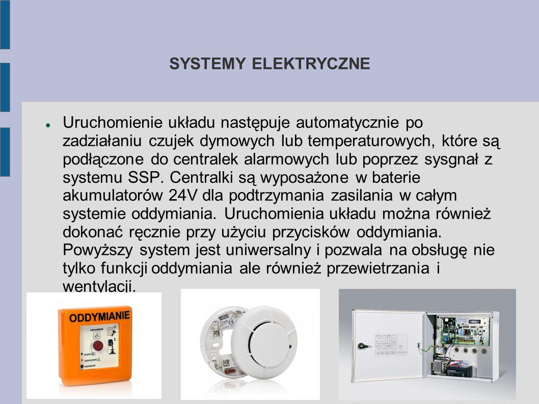 SYSTEMY ELEKTRYCZNE Uruchomienie układu następuje automatycznie po zadziałaniu czujek dymowych lub temperaturowych, które są podłączone do centralek alarmowych lub poprzez sysgnał z systemu SSP.