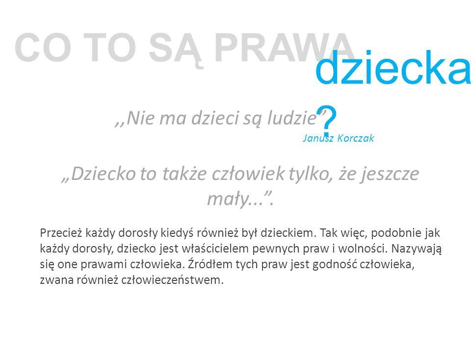 """CO TO SĄ PRAWA dziecka ?,,Nie ma dzieci są ludzie"""" Janusz Korczak """"Dziecko to także człowiek tylko, że jeszcze mały..."""". Przecież każdy dorosły kiedyś"""