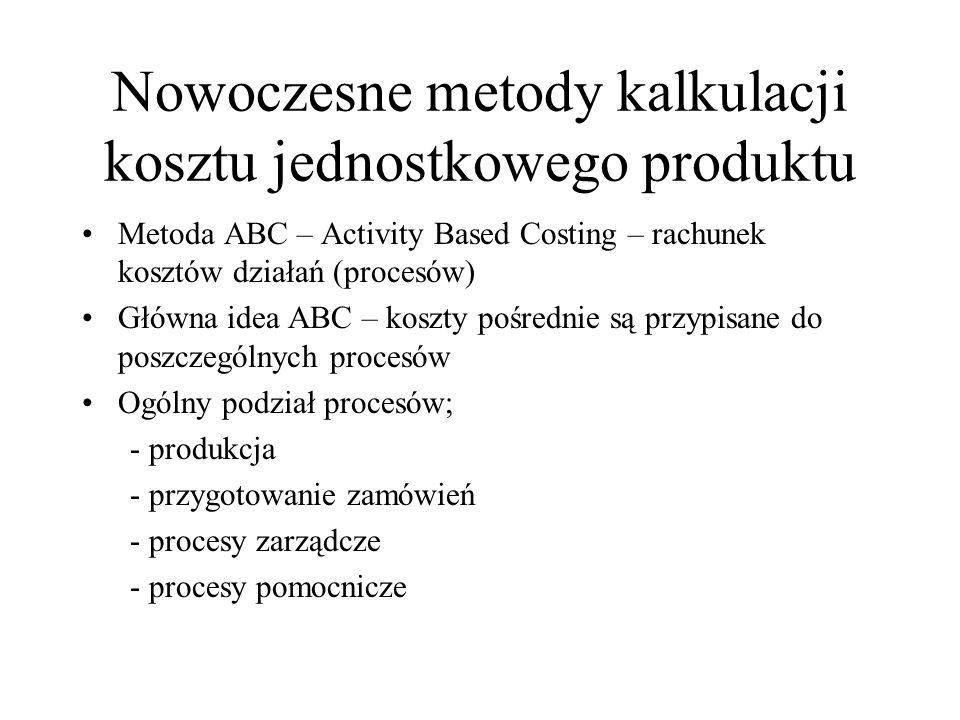 Nowoczesne metody kalkulacji kosztu jednostkowego produktu Metoda ABC – Activity Based Costing – rachunek kosztów działań (procesów) Główna idea ABC –