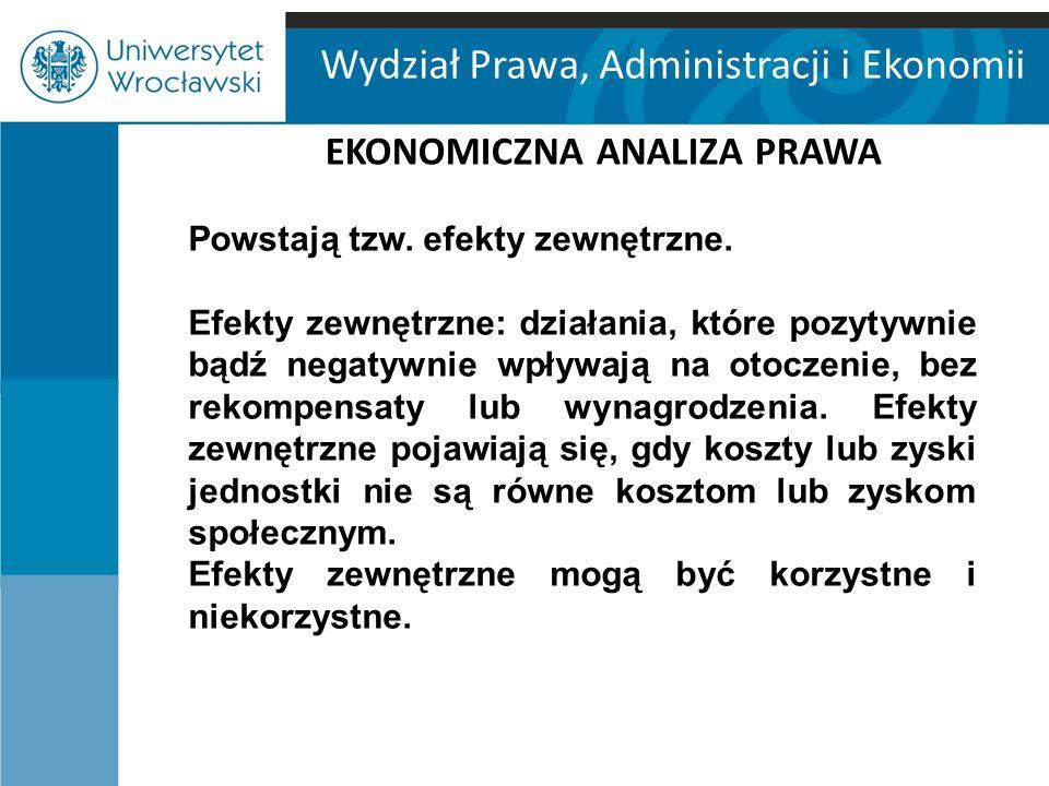 """Wydział Prawa, Administracji i Ekonomii EKONOMICZNA ANALIZA PRAWA """"w sytuacji, gdy koszty transakcyjne nie występują, strony zawierające transakcje prywatne mogą doprowadzić do efektywnej alokacji zasobów, niezależnie od początkowego rozkładu praw i obowiązków (za J."""