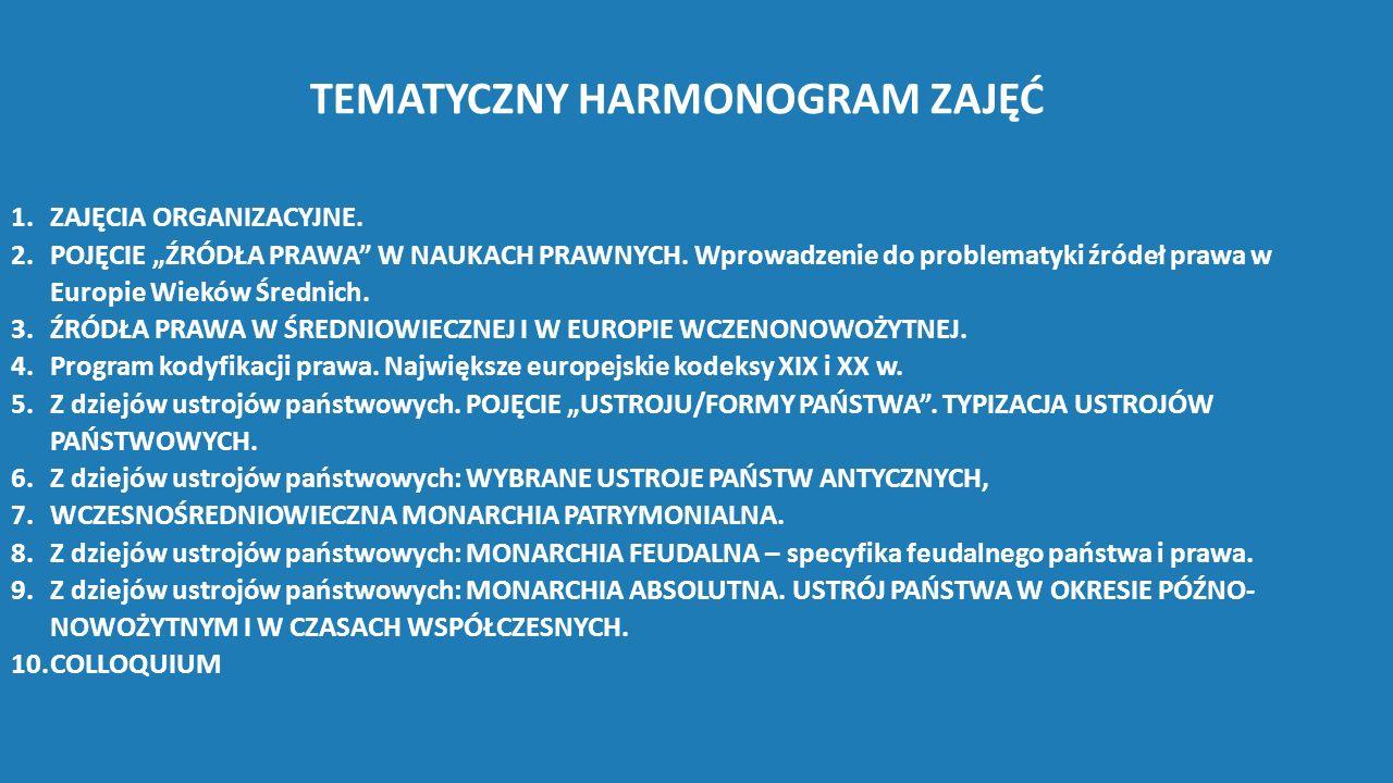 """TEMATYCZNY HARMONOGRAM ZAJĘĆ 1.ZAJĘCIA ORGANIZACYJNE. 2.POJĘCIE """"ŹRÓDŁA PRAWA"""" W NAUKACH PRAWNYCH. Wprowadzenie do problematyki źródeł prawa w Europie"""