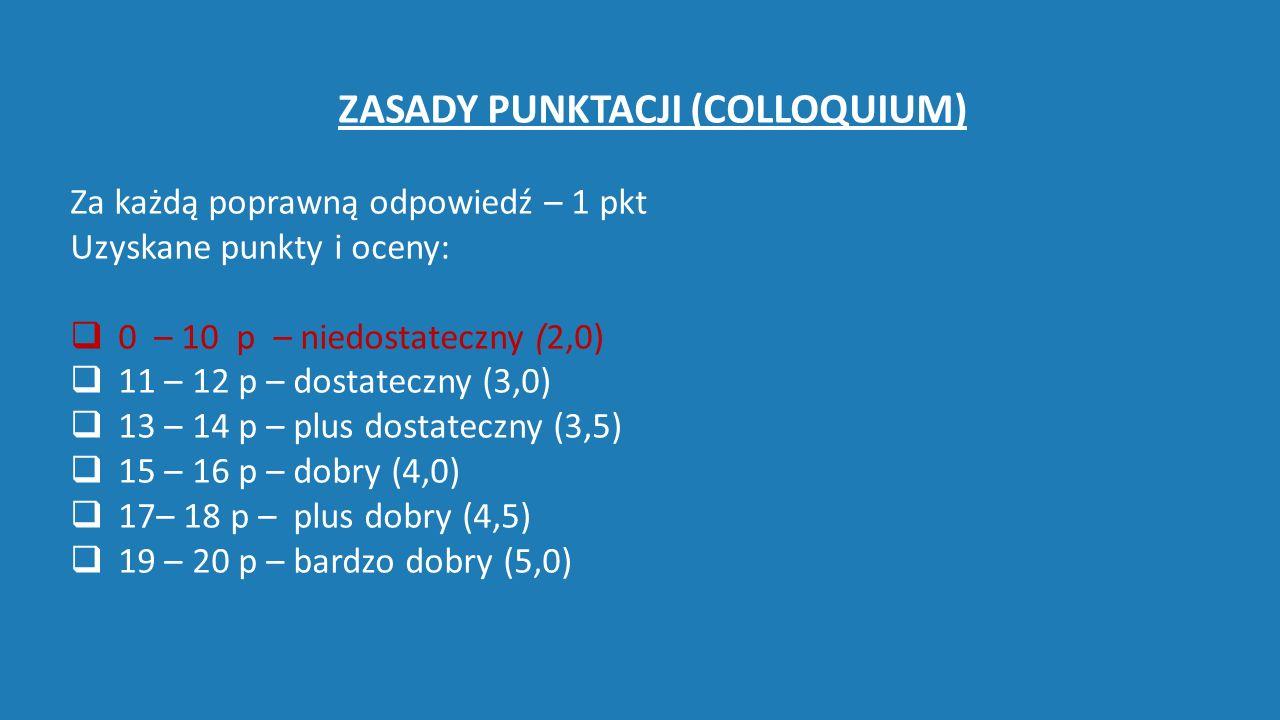 ZASADY PUNKTACJI (COLLOQUIUM) Za każdą poprawną odpowiedź – 1 pkt Uzyskane punkty i oceny:  0 – 10 p – niedostateczny (2,0)   11 – 12 p – dostateczny (3,0)  13 – 14 p – plus dostateczny (3,5)  15 – 16 p – dobry (4,0)  17– 18 p – plus dobry (4,5)  19 – 20 p – bardzo dobry (5,0)