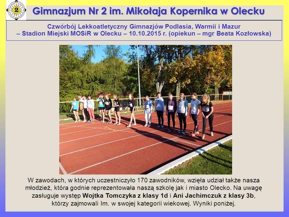 Czwórbój Lekkoatletyczny Gimnazjów Podlasia, Warmii i Mazur – Stadion Miejski MOSiR w Olecku – 10.10.2015 r.