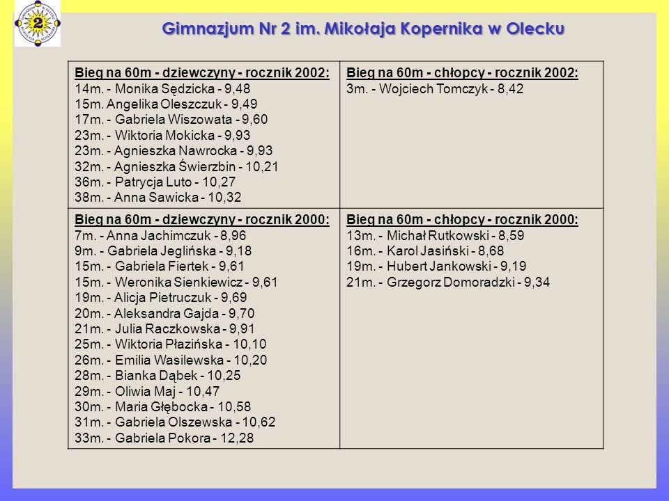 Bieg na 60m - dziewczyny - rocznik 2002: 14m. - Monika Sędzicka - 9,48 15m. Angelika Oleszczuk - 9,49 17m. - Gabriela Wiszowata - 9,60 23m. - Wiktoria