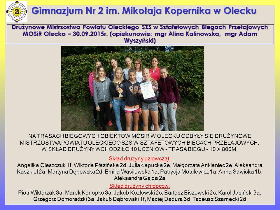 Drużynowe Mistrzostwa Powiatu Oleckiego SZS w Sztafetowych Biegach Przełajowych MOSiR Olecko – 30.09.2015r.