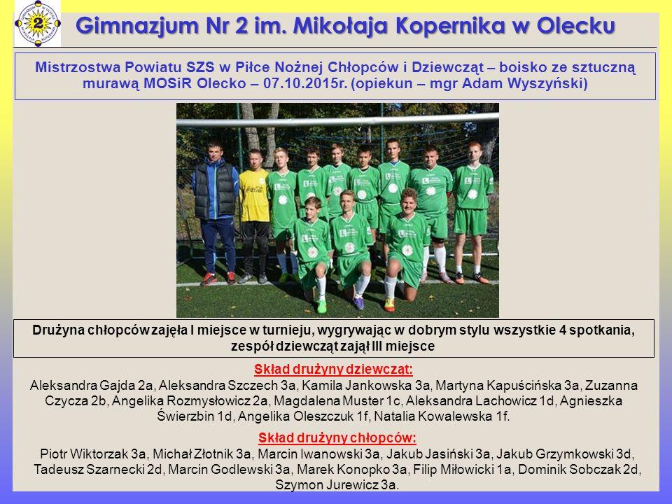Mistrzostwa Powiatu SZS w Piłce Nożnej Chłopców i Dziewcząt – boisko ze sztuczną murawą MOSiR Olecko – 07.10.2015r.
