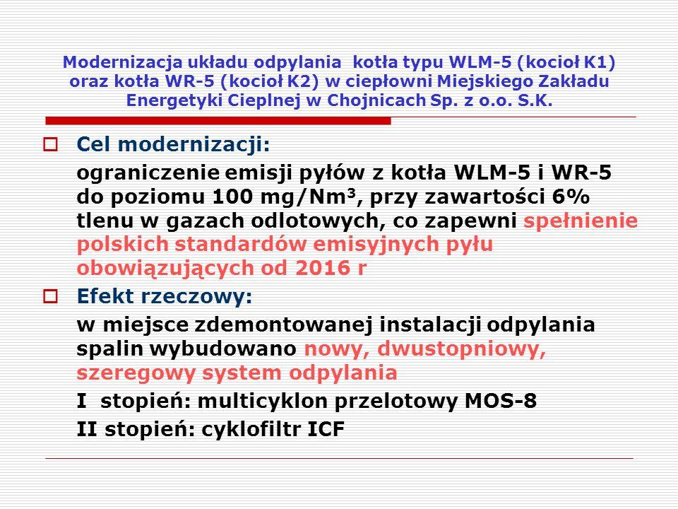  Cel modernizacji: ograniczenie emisji pyłów z kotła WLM-5 i WR-5 do poziomu 100 mg/Nm 3, przy zawartości 6% tlenu w gazach odlotowych, co zapewni sp
