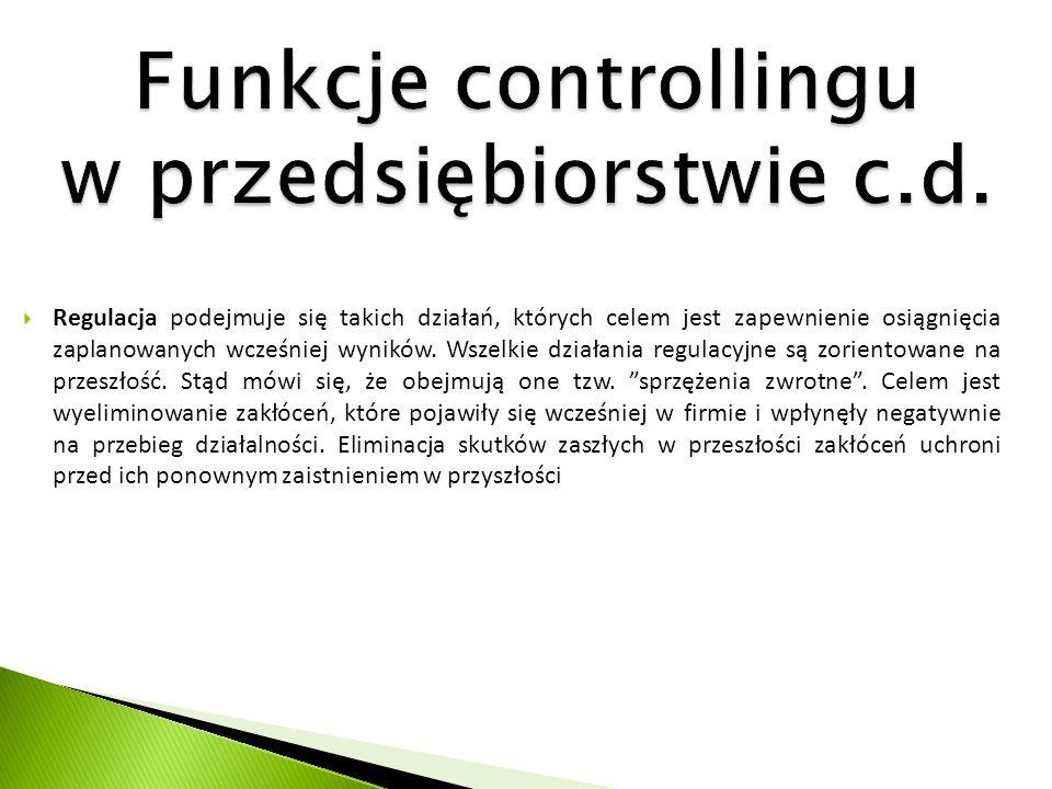 Funkcje controllingu w przedsiębiorstwie c.d.