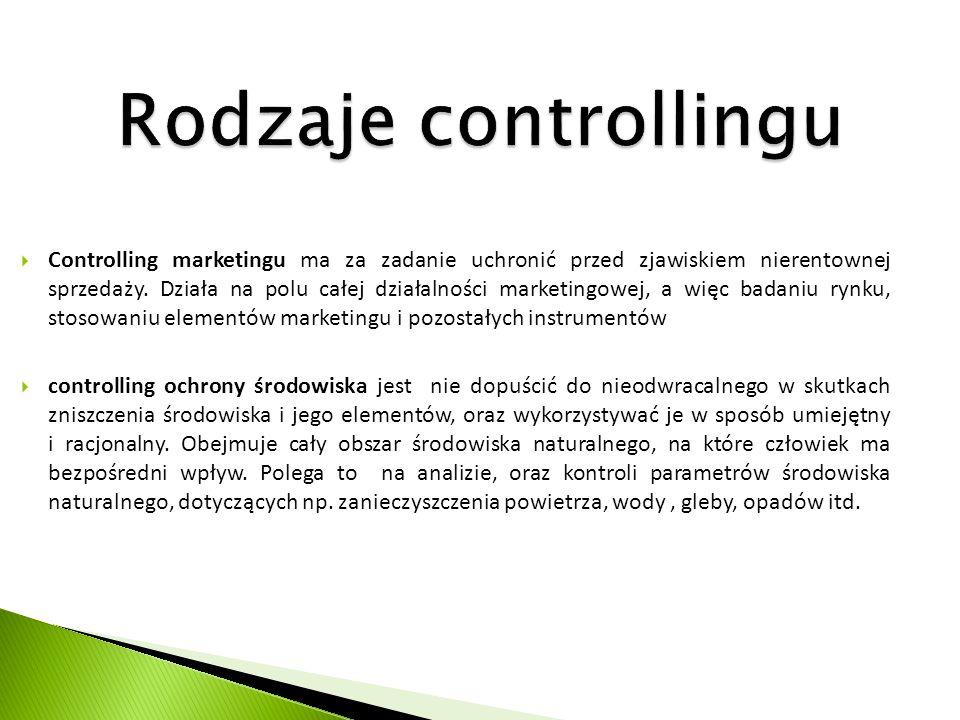 Rodzaje controllingu  Controlling marketingu ma za zadanie uchronić przed zjawiskiem nierentownej sprzedaży. Działa na polu całej działalności market