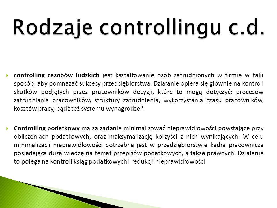 Rodzaje controllingu c.d.  controlling zasobów ludzkich jest kształtowanie osób zatrudnionych w firmie w taki sposób, aby pomnażać sukcesy przedsiębi