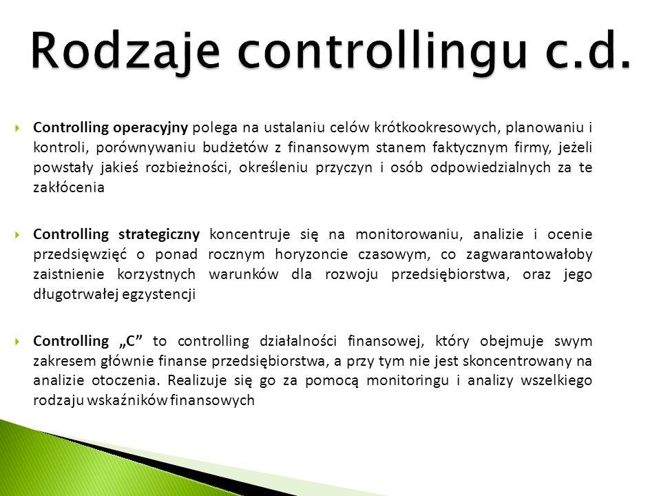 Rodzaje controllingu c.d.  Controlling operacyjny polega na ustalaniu celów krótkookresowych, planowaniu i kontroli, porównywaniu budżetów z finansow