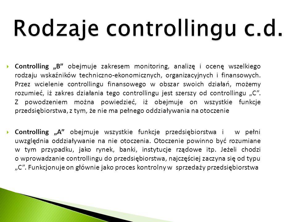 """Rodzaje controllingu c.d.  Controlling """"B"""" obejmuje zakresem monitoring, analizę i ocenę wszelkiego rodzaju wskaźników techniczno-ekonomicznych, orga"""