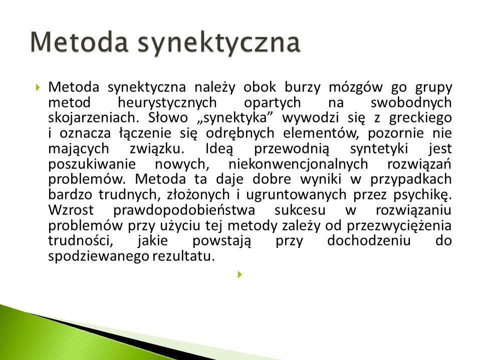 """ Metoda synektyczna należy obok burzy mózgów go grupy metod heurystycznych opartych na swobodnych skojarzeniach. Słowo """"synektyka"""" wywodzi się z grec"""