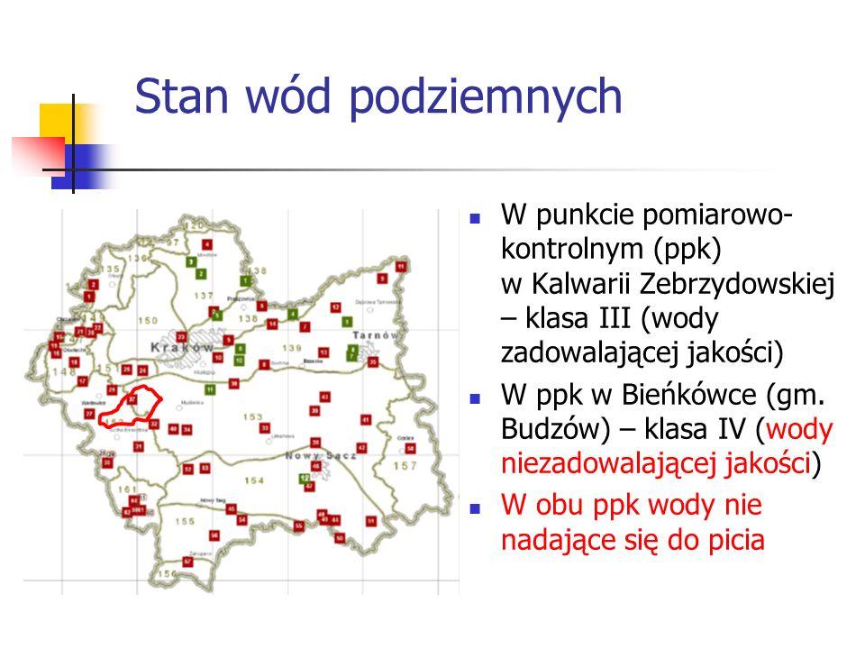 Stan wód podziemnych W punkcie pomiarowo- kontrolnym (ppk) w Kalwarii Zebrzydowskiej – klasa III (wody zadowalającej jakości) W ppk w Bieńkówce (gm.