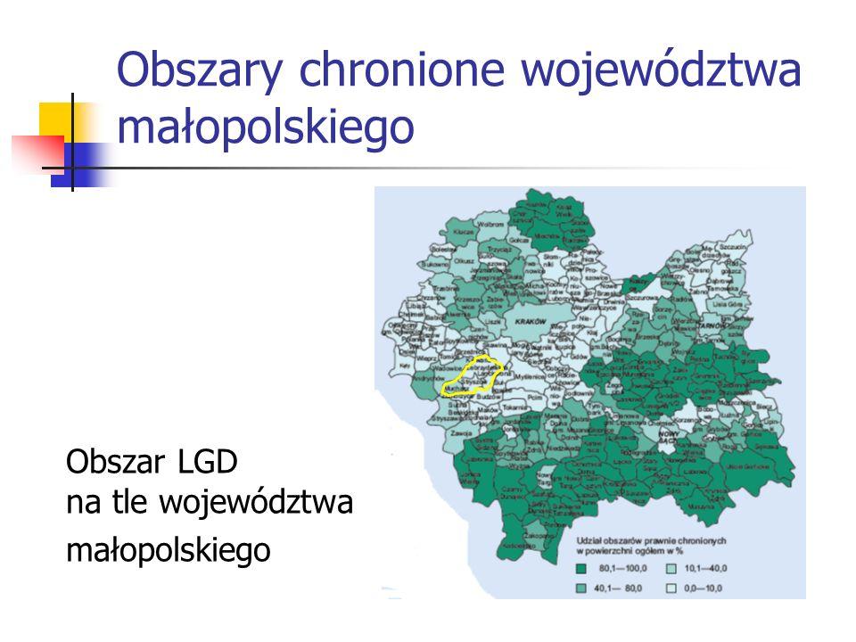 Obszary chronione województwa małopolskiego Obszar LGD na tle województwa małopolskiego