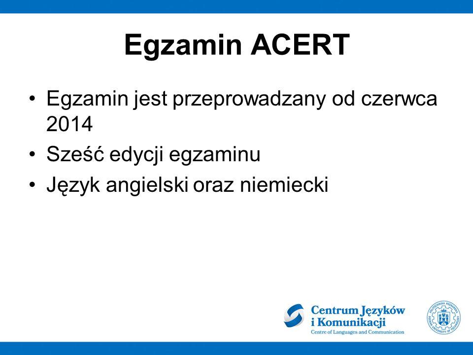 Egzamin ACERT Egzamin jest przeprowadzany od czerwca 2014 Sześć edycji egzaminu Język angielski oraz niemiecki