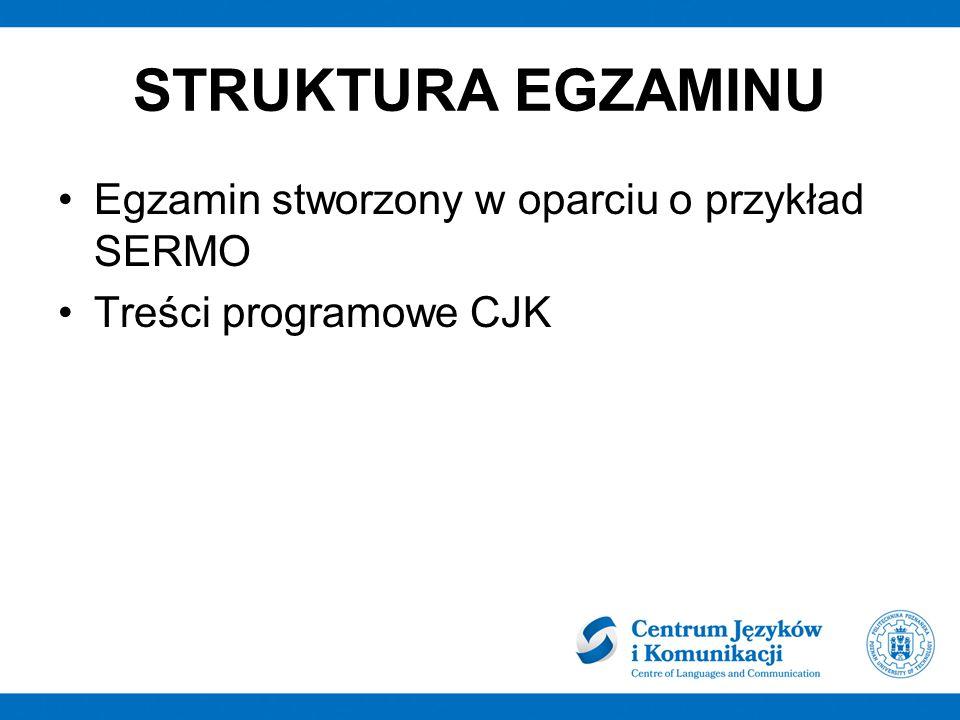 STRUKTURA EGZAMINU Egzamin stworzony w oparciu o przykład SERMO Treści programowe CJK