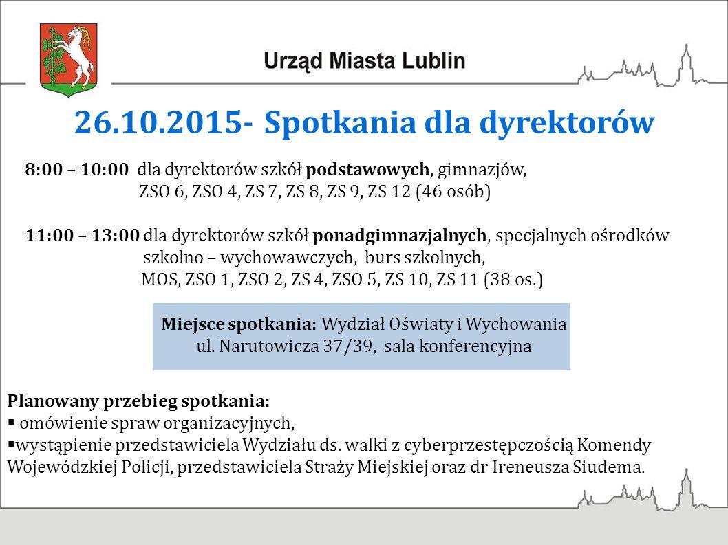 26.10.2015- Spotkania dla dyrektorów Miejsce spotkania: Wydział Oświaty i Wychowania ul.