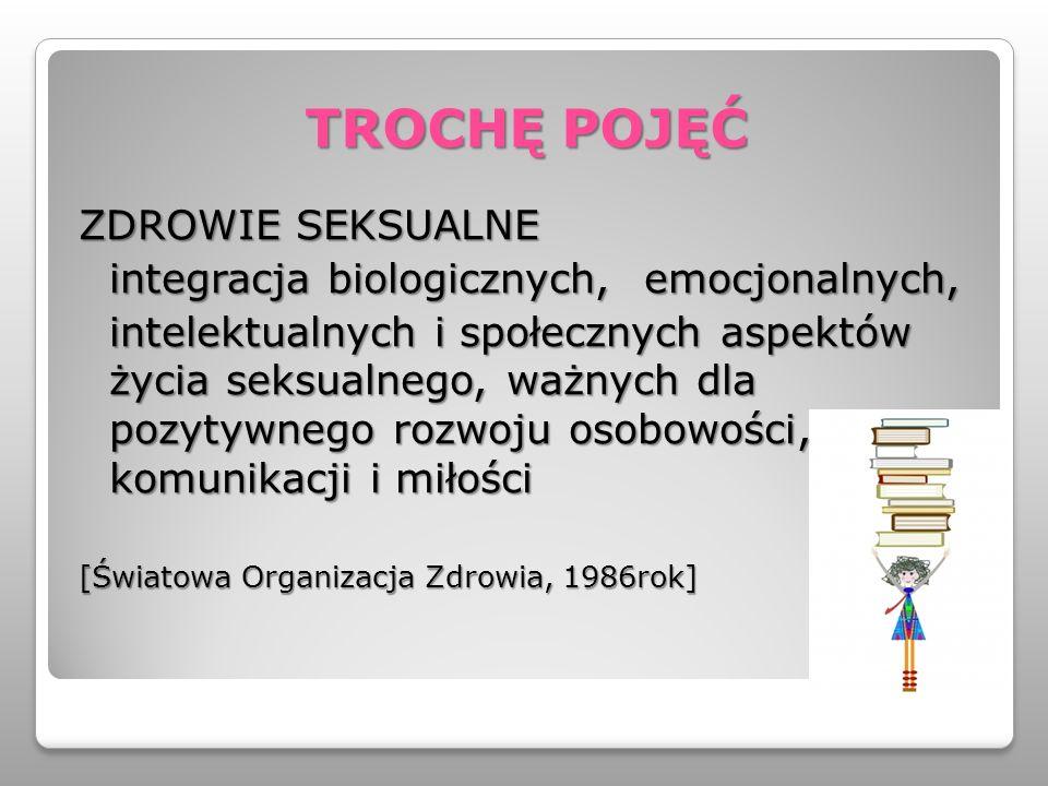 TROCHĘ POJĘĆ ZDROWIE SEKSUALNE integracja biologicznych, emocjonalnych, intelektualnych i społecznych aspektów życia seksualnego, ważnych dla pozytywn