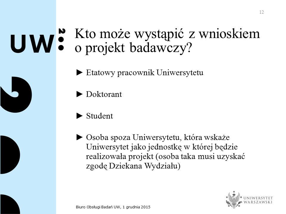Biuro Obsługi Badań UW, 1 grudnia 2015 12 Kto może wystąpić z wnioskiem o projekt badawczy.