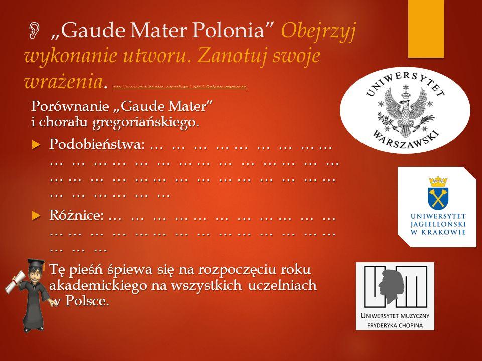 """ """"Gaude Mater Polonia Obejrzyj wykonanie utworu."""