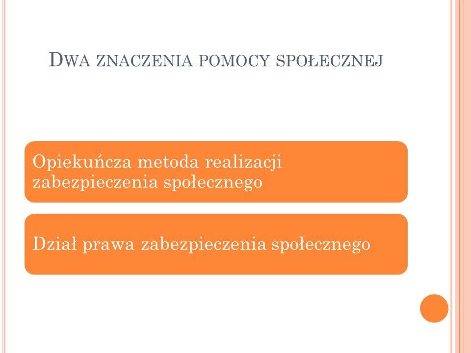 Ź RÓDŁA PRAWA Ustawa z 12 marca 2004 r. o pomocy społecznej, Dz. U. 2013, poz. 182 tj. ze zm.