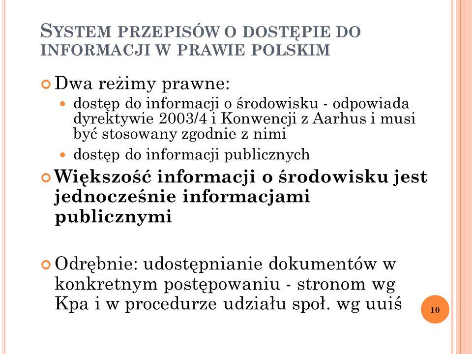 S YSTEM PRZEPISÓW O DOSTĘPIE DO INFORMACJI W PRAWIE POLSKIM Dwa reżimy prawne: dostęp do informacji o środowisku - odpowiada dyrektywie 2003/4 i Konwe