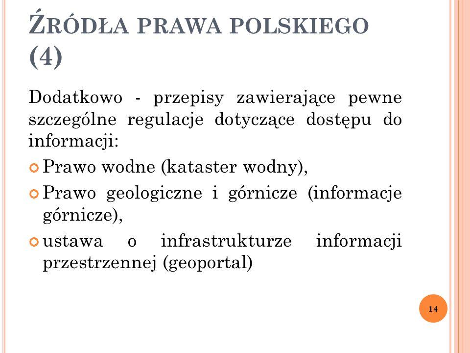 Ź RÓDŁA PRAWA POLSKIEGO (4) Dodatkowo - przepisy zawierające pewne szczególne regulacje dotyczące dostępu do informacji: Prawo wodne (kataster wodny),
