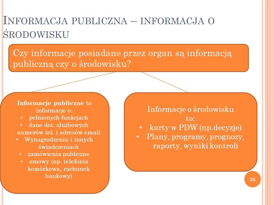 26 I NFORMACJA PUBLICZNA – INFORMACJA O ŚRODOWISKU Czy informacje posiadane przez organ są informacją publiczną czy o środowisku? Informacje publiczne
